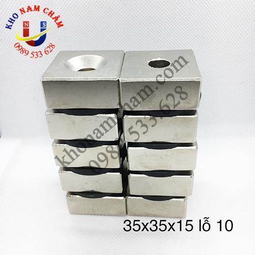 Nam châm viên 35x35x15 lỗ vát 10 mm