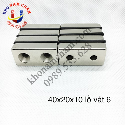 Nam châm viên 40x20x10 lỗ vát 6 mm