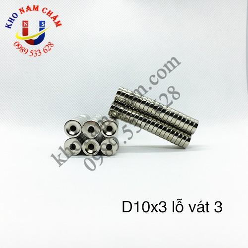 Nam châm viên D10x3 lỗ vát 3 mm