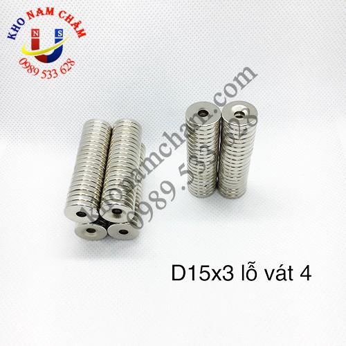 Nam châm viên D15x3 lỗ vát 4 mm