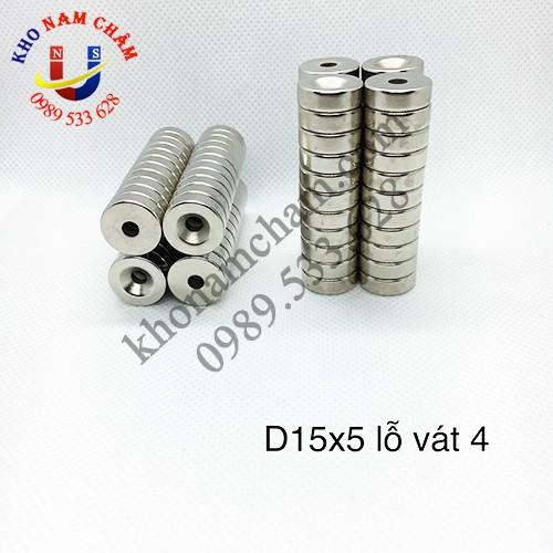 Nam châm viên D15x5 lỗ vát 4 mm