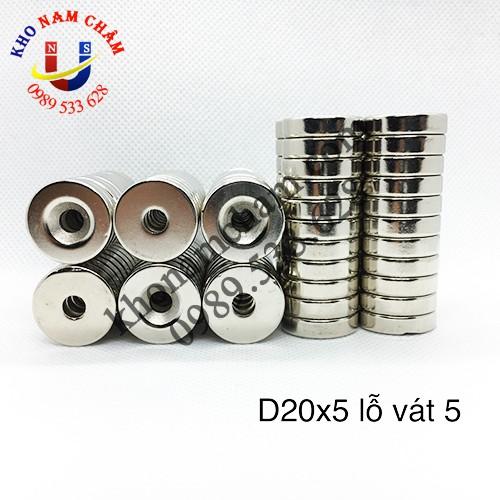 Nam châm viên D20x5 lỗ vát 5 mm