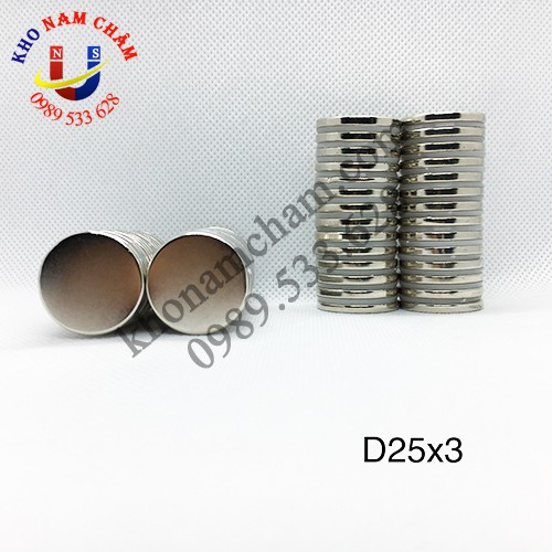 Nam châm viên D25x3 mm