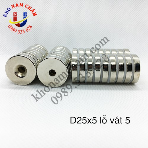 Nam châm viên D25x5 lỗ vát 5 mm