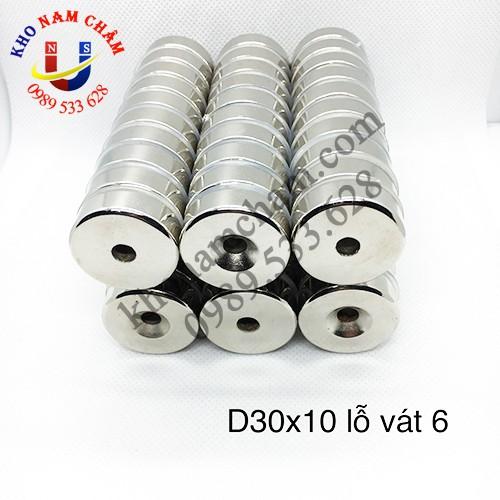 Nam châm viên D30x10 lỗ vát 6 mm