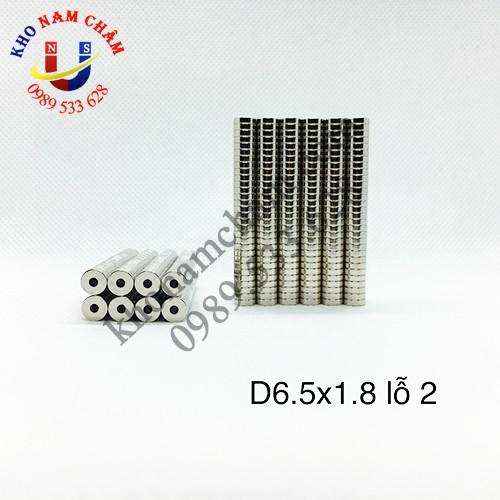 Nam châm viên D6.5x1.8 lỗ côn 2