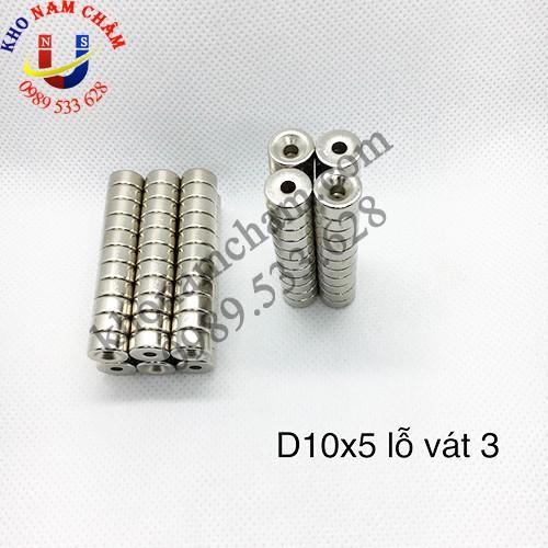 Nam châm viên D10x5 lỗ vát 3 mm