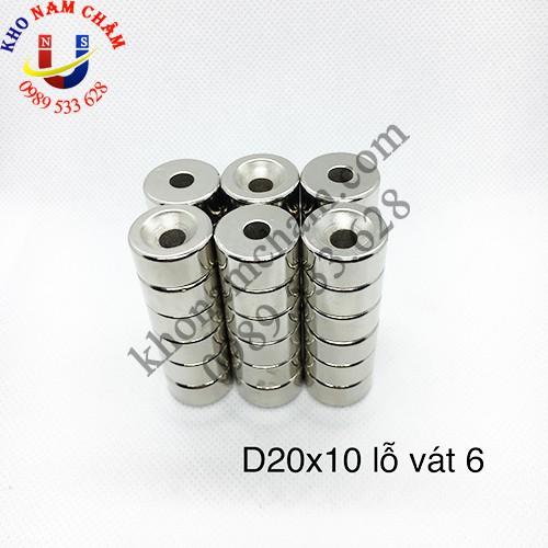 Nam châm viên D20x10 lỗ vát 6 mm