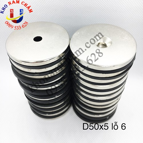 Nam châm viên D50x5 lỗ vát 6 mm